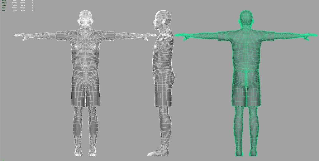 Jogador criado Autodesk Maya - Wireframe